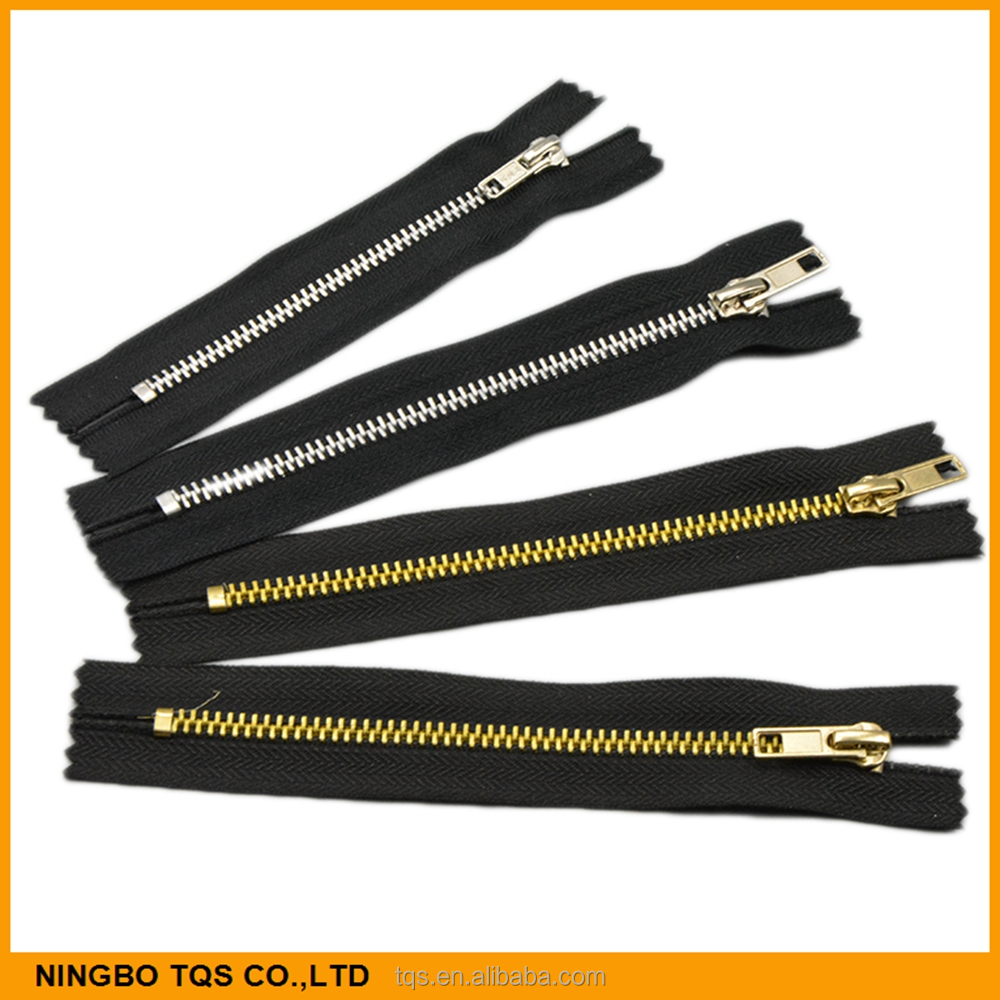 Factory Sale Aluminium Zipper Silver Gold No.3 Or No.4 C/E Metal Zippers or Zips