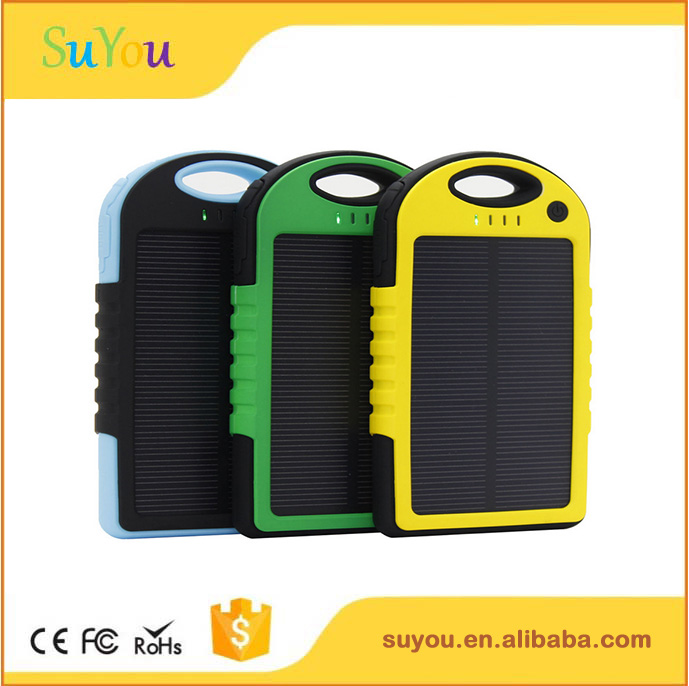 2017 hottest solar power bank charger 5000mah, LED light solar charger, portable slim solar power bank for smart devices