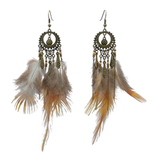 New Girls Vintage Bronze Alloy Chain Feather Beaded Dangle Earrings