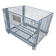 Welded foldable stacking steel mesh wire storage cage