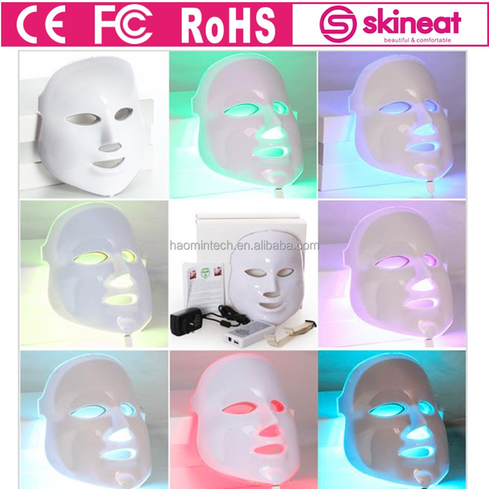 Skineat Professional 7 color PDT phototherapy electric face neck LED mask for young skincare cleansing