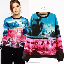 2015 new European and American hit color sweater impression landscape 3d printing hedging sweater