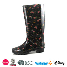 2017 Rain Boots Shoes Women Boots Pink Black Printing Jelly Rubber Sole Footwear Transparent High Heel Brand Rain Boot D369