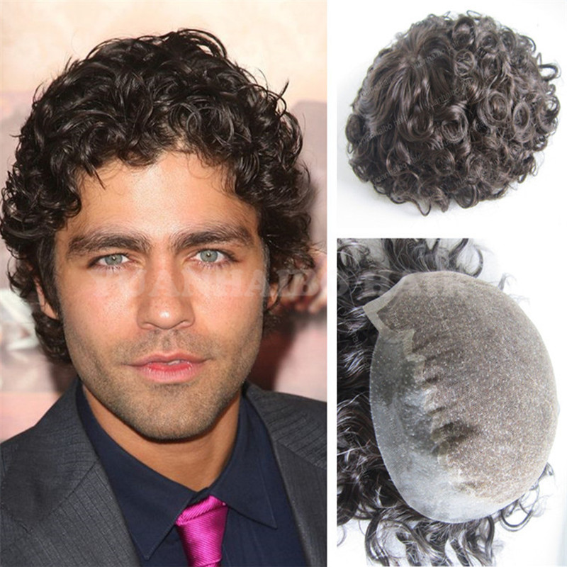 High Quality #2 Dark Brown Virgin Mongolian Hair Curly Men Toupee