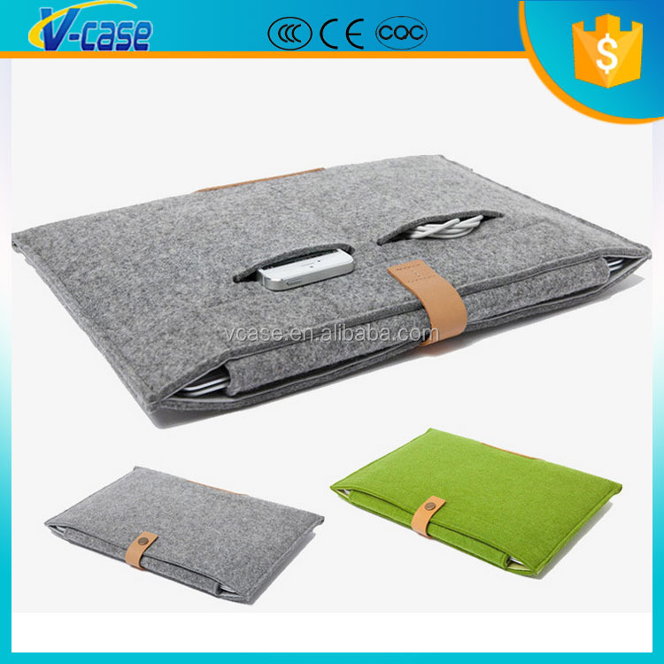 2015 hot sell new handmade green polyester wholesale felt waterproof and shockproof laptop case made in China