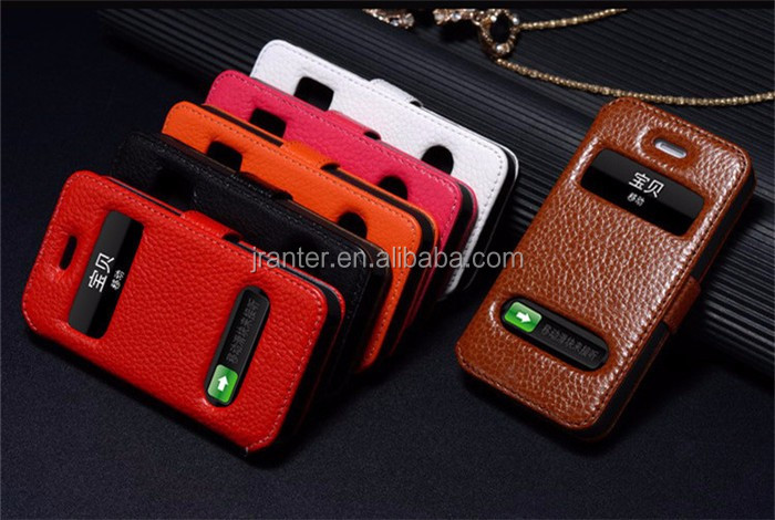 Flip Phone for Apple iPhone Case Custom Leather Dot View Case for iPhone 6