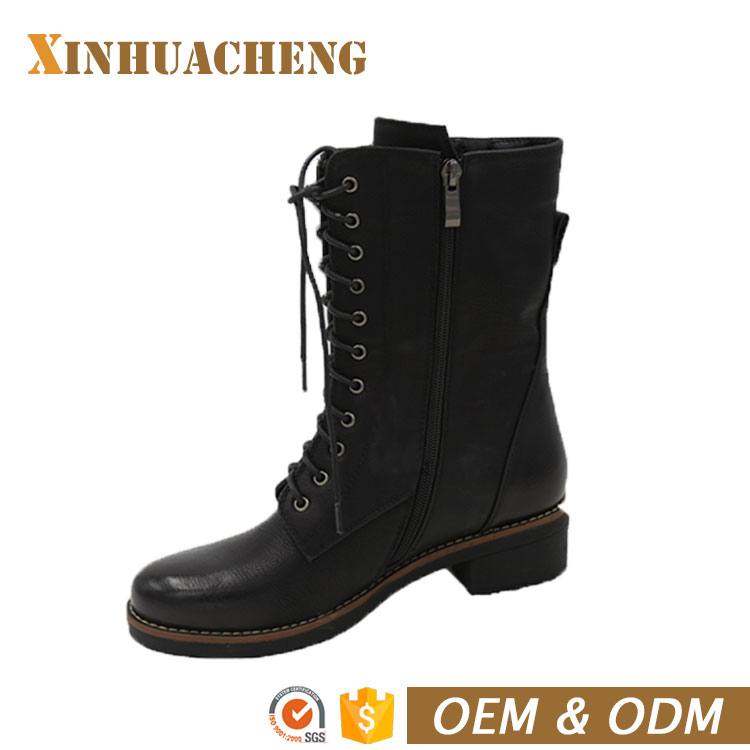 European style lace-up and double zippers Martin boots