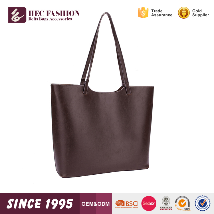 HEC Brown Color Classical Tyoe PU Leather Ladies Handbag Women Tote Bag