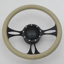 Classic Black Anodized 350mm Billet Aluminum Steering Wheel with Horn Button Adapter