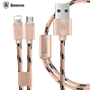 Baseus Portman Series 2 in 1 Charge Cable 1.2M for iPhone For Samsung Micro USB + 8 Pin Sync Data Transfer Quick Charging Nylon