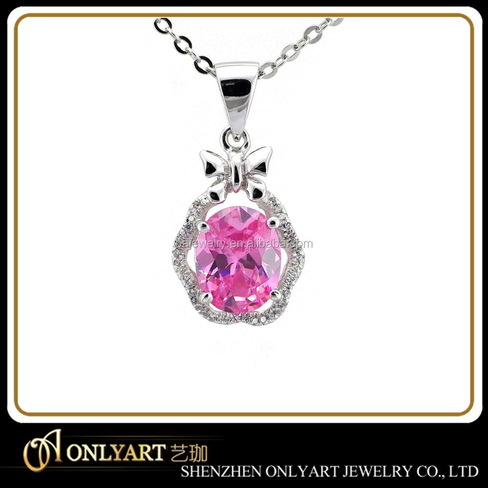 International new design pendant silver 925 necklace pendant with pink stone
