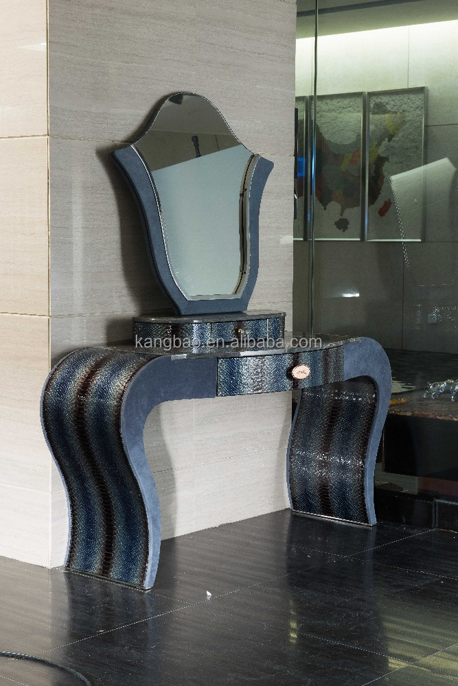 High-end Italian palissandro blue marble dressing table, Foshan luxury blue full leather Italian design dresser