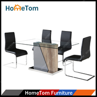 Hometom Dining Room Furniture 4 Seater Glass Dining Table