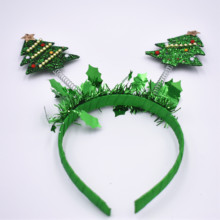 2019 Hot selling <strong>hair</strong> <strong>accessories</strong> sequin hairband christmas tree hairbandsfor kids