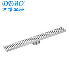 Stainless steel linear shower drain with plastic syphon