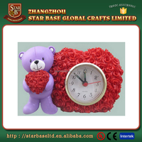 Customized wholesale animal decor table resin time clock