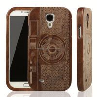Manufacturer Wholesale PU mobile phone flip case with wood Design For Samsung S5