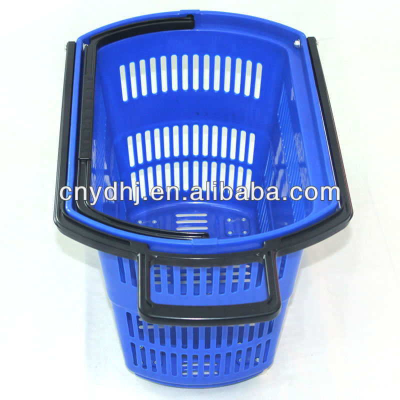 Supermarket Shopping Rolling Trolley Handle Plastic Baskets With Wheels