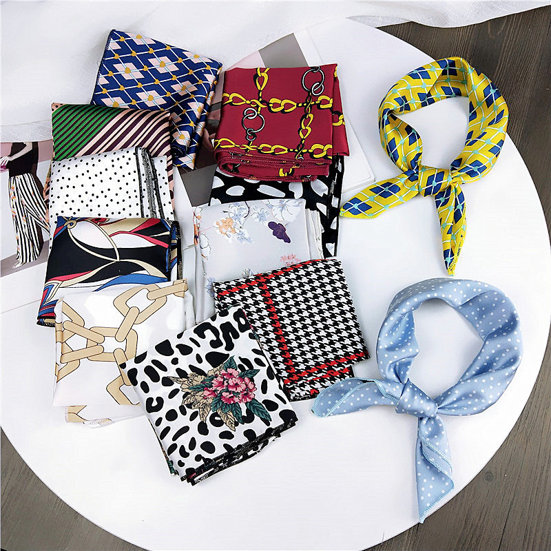CLARMER Instagram Fashion Summer Spring Neck <strong>Scarves</strong> Accessories Colorful Pattern Stripe Square Silk <strong>Scarf</strong> For Women