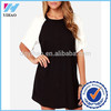 Ladies clothing black and white patchwork short sleeve lightweight woven rayon dress women casual dresses