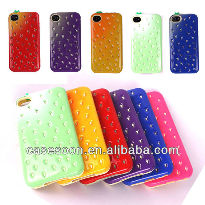 Hot Selling Strawberry Cover Case For Apple iPhone 4 4S Hard Case,For iPhone 4 4S Cute Case