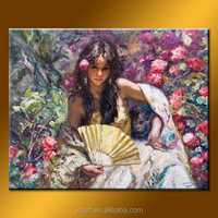 Hot sell newest art painting handmade girls with flower picture