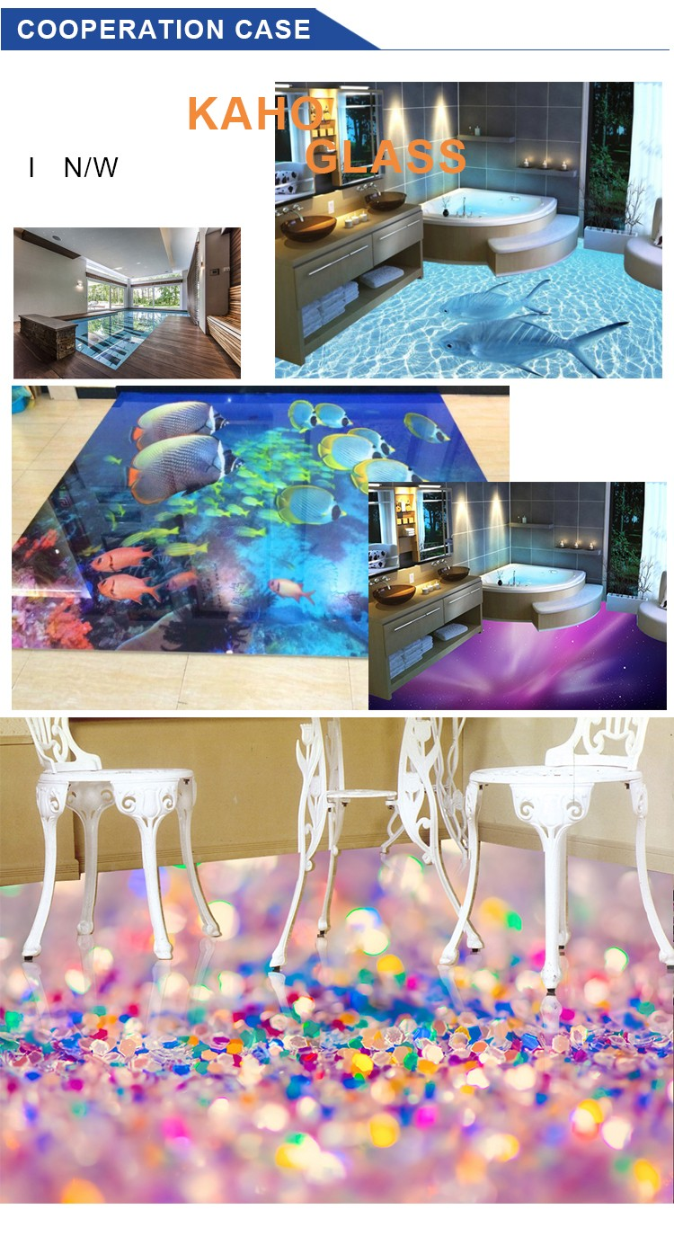 DIY design 3D effect 10mm thick tempered laminated glass prices of digital printing on glass for structural glass floor
