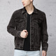 Custom fashion design button up soft cotton black heavy denim jacket wash