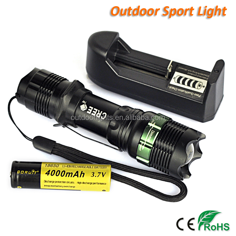 BORUIT Mini Tactical LED Torch Zoom CREE Q5 Flashlight 4000mAh Battery Powered (SA-9)