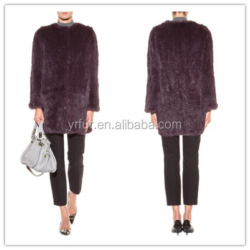 YR515 new collection real rabbit fur knit quality cardigan coat jacket