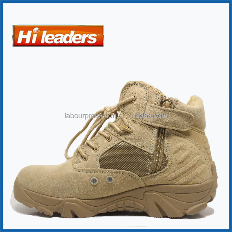 Classic Famous Brand beige combat boots & Military suede desert boots with side zipper
