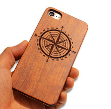 Natural Wood Handcraft Engraving Angel Wings Wooden + PC Mobile Phone Cover Case For iphone 7 7lus