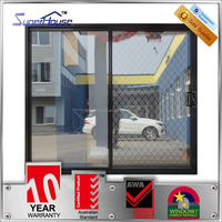 Superhouse As2047 standard Thermal broken energy saving frameless exterior glass sliding doors with security mesh