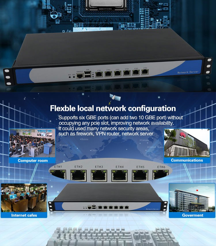 19 Inch Intel Core i7 processor brand 1U rack server 6 Intel Lan industrial VPN network Server support Linux Pfsense