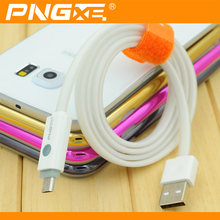 PNGXE 2016 flat 1M colorful usb led light phone charger cable,visible flow led light usb charging sync cable for cell phone