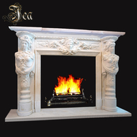 Life size Indoor white marble Stone fireplace mantel