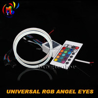 COB Angel Eye RGB Halo Ring LED Light with Remote Kit 12V for Car Decoration