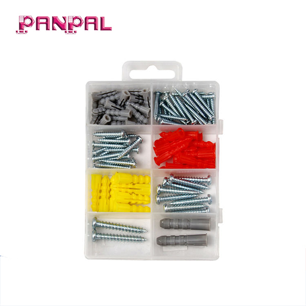 Cheap <strong>price</strong> 100pcs assorted sizes self tapping screws with plastic wall plug anchors