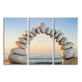 Modern Stone Photo Canvas Prints Home Wall Decor Canvas Art Seascape Canvas Printing Stretched Canvas Painting 3-Panel