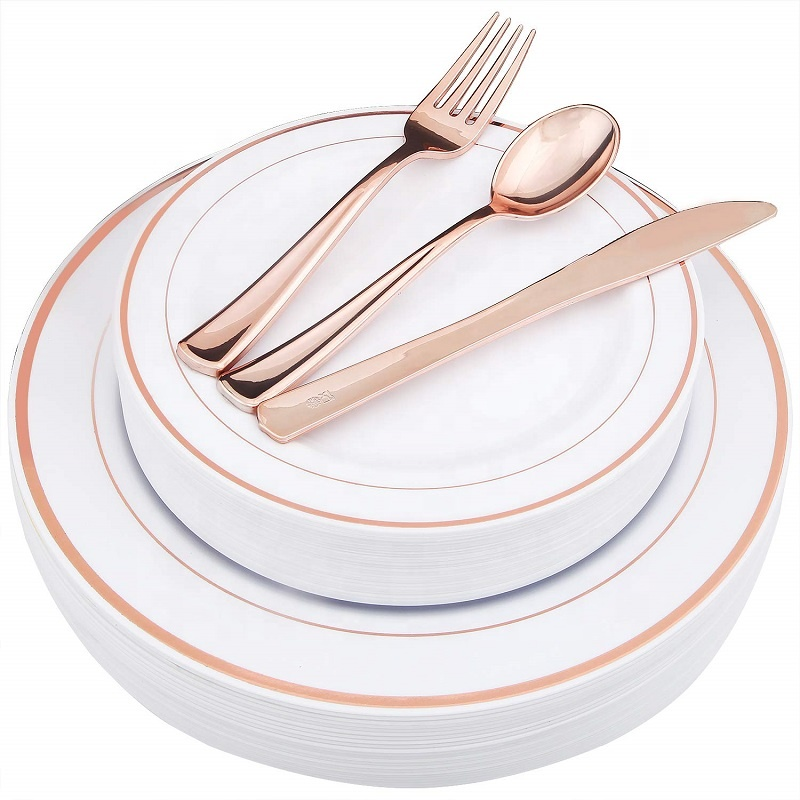 Rose Gold Plastic Plates and Cutlery <strong>Set</strong>, Disposable Plastic Dinnerware <strong>Set</strong> Wedding Party Plastic Silverware