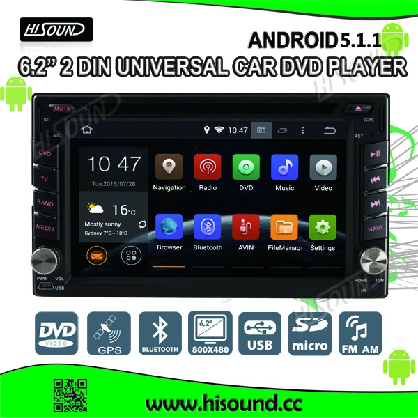 2din universal 6.2'' touch screen dvd gps bluetooth wifi 3g android 5.1.1 car dvd