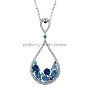 PES fashion jewelry! Cubic Zirconia Lab-Created Gemstone Teardrop Pendant Necklace (PES3-1195)