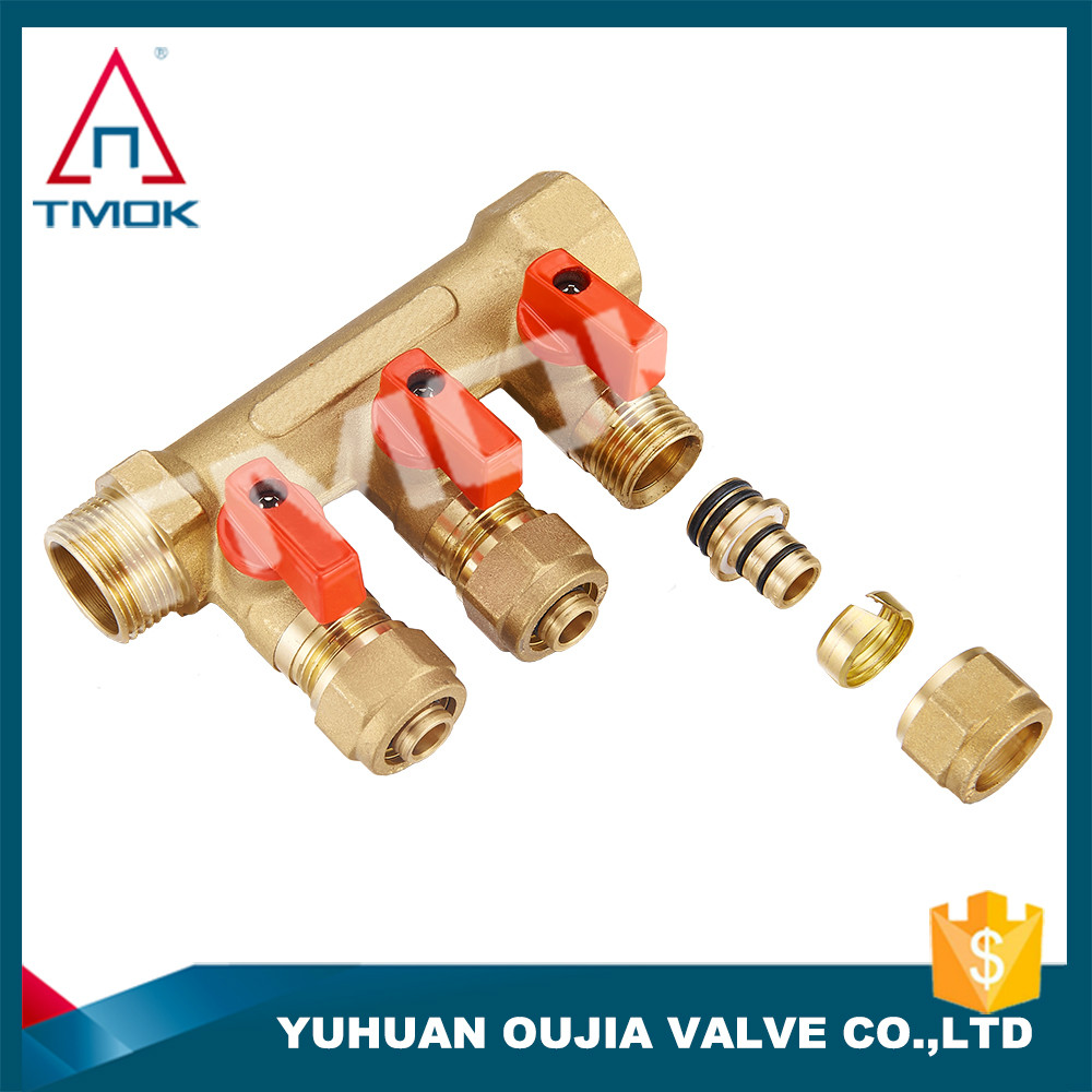 3 ways brass forge manifold for floor heating brass hydraulic manifold blocks from Oujia valve company in Zhejiang