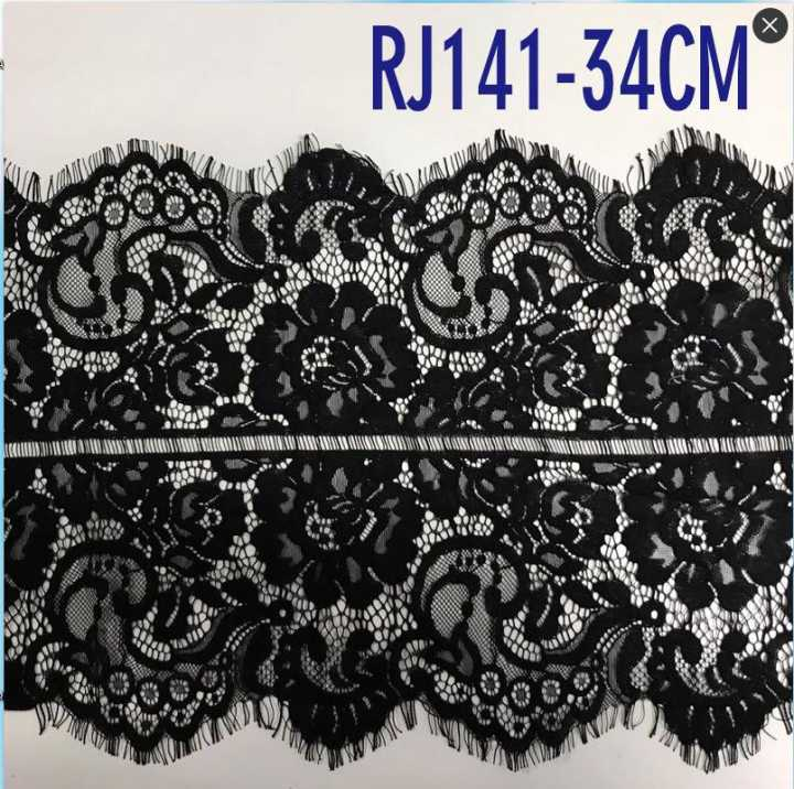 nylon/cotton black eyelash lace trim manufacturer