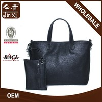 Fashion 2set black PU shoulder bags ladies handbag purse
