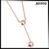 Crystal Drop Lariat Rose Gold Stainless