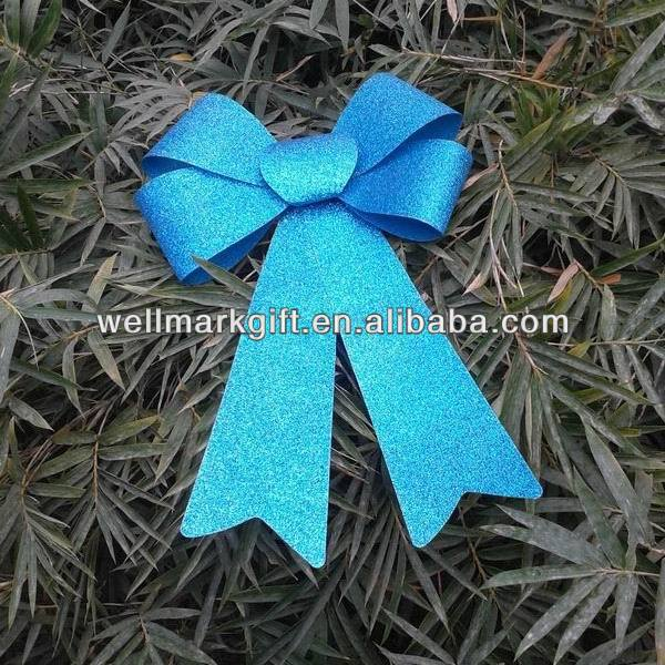 Large Pretied Turquoise Metallic Glitter Plastic Indoor Outdoor Christmas Ribbon Bow