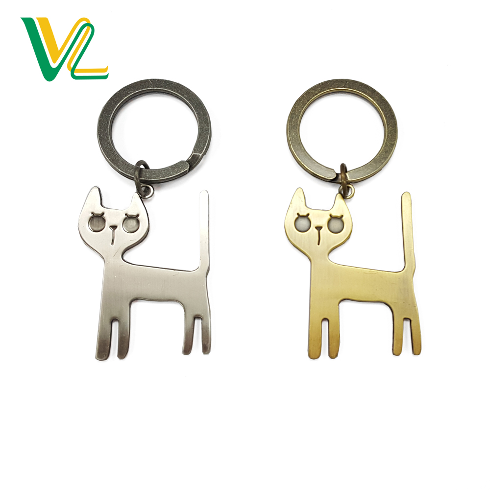Manufacturer Promotion Zinc Alloy Cat Shape Anti-Bronze Silver Cute Gift KeyChain for man