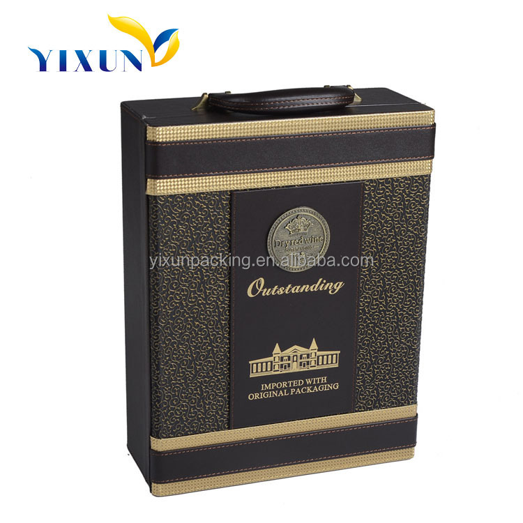 Nice quality champagne leather eva wine carry cases