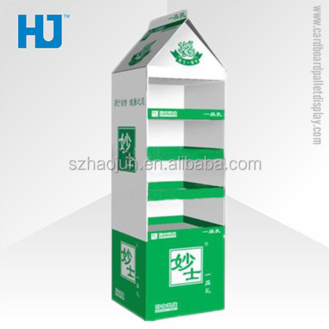 Pos carton display furniture, retail store fold-able cardboard display racks for pharmacy